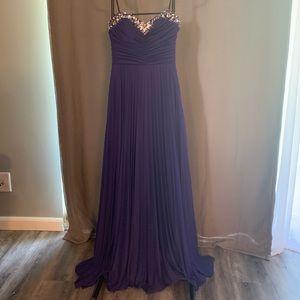 Strapless Floor Length Purple Prom Dress